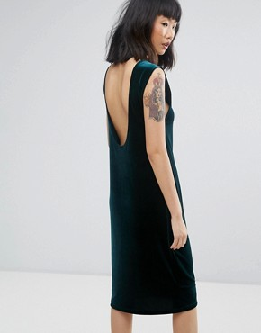 photo Velour Midi Dress with Scoop Back by Moss Copenhagen, color Bottle Green - Image 2