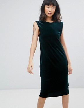 photo Velour Midi Dress with Scoop Back by Moss Copenhagen, color Bottle Green - Image 1