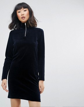 photo High Neck Velour Dress with Zip Detail by Moss Copenhagen, color Navy - Image 1