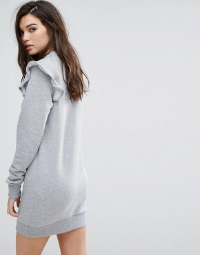 photo Ruffle Sweat Dress by Uncivilised, color Grey Marl - Image 2
