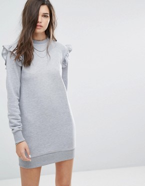 photo Ruffle Sweat Dress by Uncivilised, color Grey Marl - Image 1