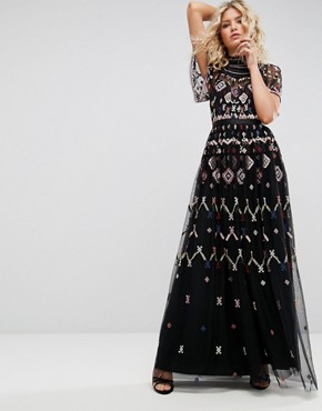 photo Embroidered Maxi Dress by Needle & Thread, color Black - Image 1