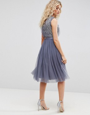 photo Embellished Midi Tulle Dress by Needle & Thread, color Vintage Blue - Image 2