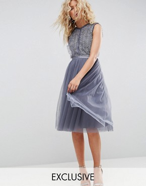 photo Embellished Midi Tulle Dress by Needle & Thread, color Vintage Blue - Image 1