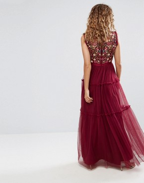 photo High Neck Maxi Tulle Dress with Embroidery and Embellishment by Needle & Thread, color Cherry - Image 2