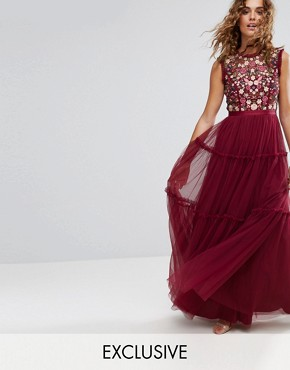 photo High Neck Maxi Tulle Dress with Embroidery and Embellishment by Needle & Thread, color Cherry - Image 1