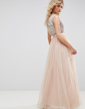 photo Embellished Gown with Frill Detail by Needle & Thread, color Petal Pink - Image 2