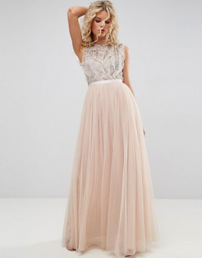 photo Embellished Gown with Frill Detail by Needle & Thread, color Petal Pink - Image 1
