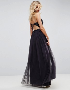 photo Embellished Tulle Maxi Dress with Cami Straps by Needle & Thread, color Dust Midnight - Image 2