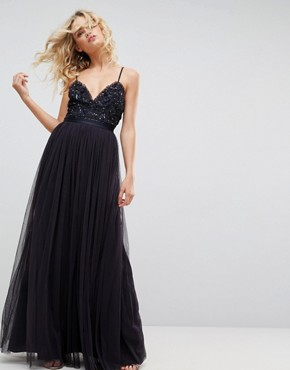 photo Embellished Tulle Maxi Dress with Cami Straps by Needle & Thread, color Dust Midnight - Image 1