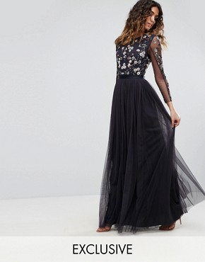 photo Ditsy Scatter Tulle Gown by Needle & Thread, color Dust Midnight - Image 1