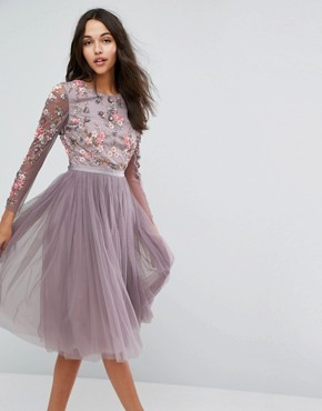 photo Ditsy Scatter Tulle Midi Dress by Needle & Thread, color Lavender - Image 2