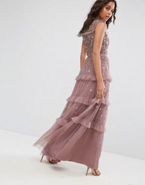 photo High Neck Maxi Dress with Allover Embellishment by Needle & Thread, color Lilac - Image 2