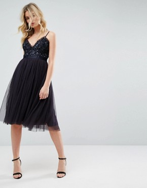 photo Embellished Tulle Midi Dress with Cami Straps by Needle & Thread, color Dust Midnight - Image 1