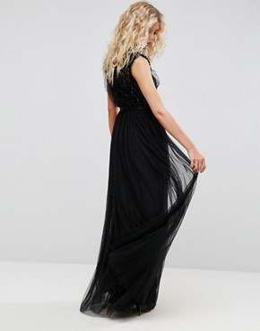 photo Embellished Gown with Frill Detail by Needle & Thread, color Black - Image 2