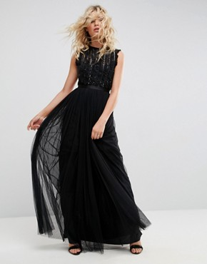 photo Embellished Gown with Frill Detail by Needle & Thread, color Black - Image 1