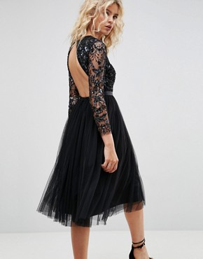 photo Embellished Midi Dress with Long Sleeves by Needle & Thread, color Black - Image 2