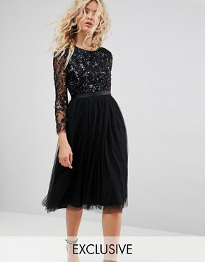 photo Embellished Midi Dress with Long Sleeves by Needle & Thread, color Black - Image 1