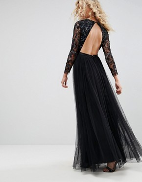 photo Embellished Gown with Long Sleeves by Needle & Thread, color Black - Image 2
