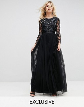 photo Embellished Gown with Long Sleeves by Needle & Thread, color Black - Image 1