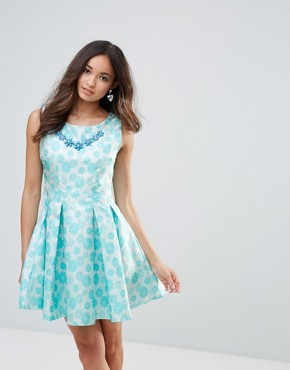 photo Floral Embossed Dress by Zibi London, color Blue - Image 1