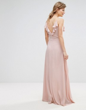 photo Ruffle Front Maxi Dress by New Look, color Nude - Image 2
