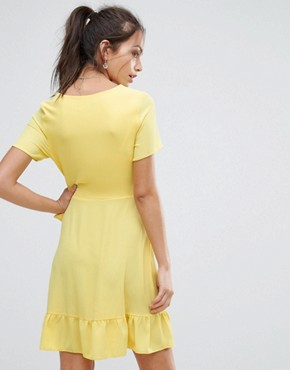 photo Ruffle Wrap Dress by New Look, color Bright Yellow - Image 2