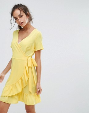 photo Ruffle Wrap Dress by New Look, color Bright Yellow - Image 1