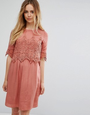 photo Lace Overlay Dress by Vila, color Brick Dust - Image 1