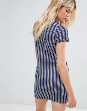 photo Striped T-Shirt Dress with Tie Waist by Daisy Street, color Blue Stripe - Image 2