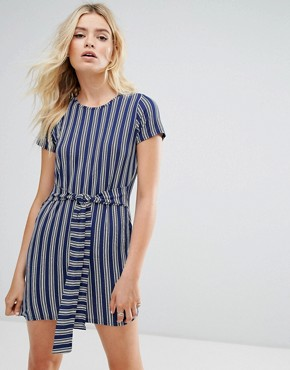 photo Striped T-Shirt Dress with Tie Waist by Daisy Street, color Blue Stripe - Image 1