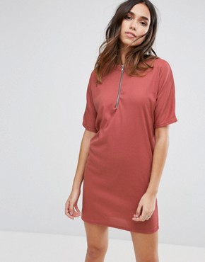 photo Zip Front T-Shirt Dress by Daisy Street, color Pink - Image 1