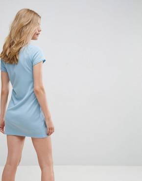 photo T-Shirt Dress with Tie Waist and Zip Front by Daisy Street, color Blue - Image 2