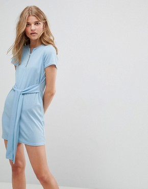 photo T-Shirt Dress with Tie Waist and Zip Front by Daisy Street, color Blue - Image 1