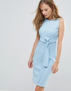 photo Sleeveless Dress with Tie Waist by Daisy Street, color Blue - Image 1