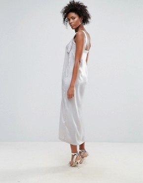photo O-Ring Satin Slip Dress by Neon Rose, color Grey - Image 2