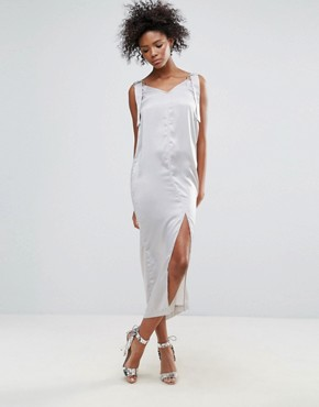 photo O-Ring Satin Slip Dress by Neon Rose, color Grey - Image 1