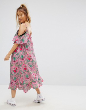 photo Eyelet Floral Satin Midi Dress by ASOS PETITE, color Multi - Image 2