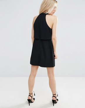 photo Mini Dress with Crop Top Layer and High Neck by ASOS PETITE, color Black - Image 2