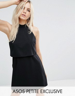 photo Mini Dress with Crop Top Layer and High Neck by ASOS PETITE, color Black - Image 1