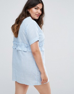 photo Striped Rouched Waist Dress by Missguided Plus, color Blue Stripe - Image 2