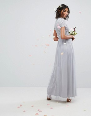 photo High Neck Embellished Maxi Dress with Tulle Skirt by Maya, color Grey - Image 2