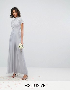 photo High Neck Embellished Maxi Dress with Tulle Skirt by Maya, color Grey - Image 1