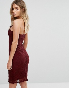 photo Cross Front Lace Pencil Dress with Panelled Corset Detail by NaaNaa, color Wine - Image 2