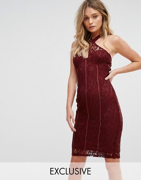 photo Cross Front Lace Pencil Dress with Panelled Corset Detail by NaaNaa, color Wine - Image 1