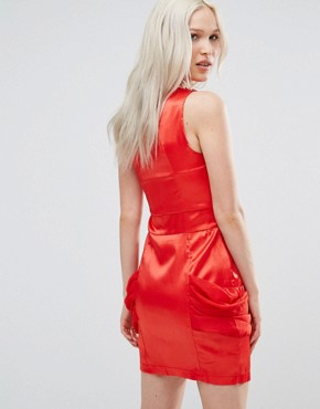 photo One Shoulder Dress with Drape Side by Jasmine, color Red - Image 2