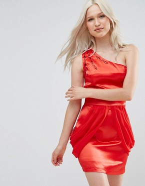 photo One Shoulder Dress with Drape Side by Jasmine, color Red - Image 1