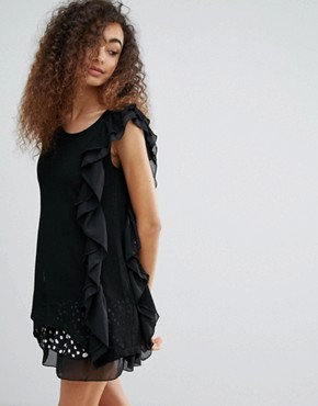 photo Dress with Polka Dot and Ruffle Trim by Jasmine, color Black - Image 1