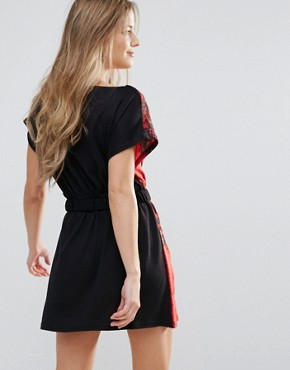photo Printed Tunic Dress with Waist Belt by Jasmine, color Red - Image 2