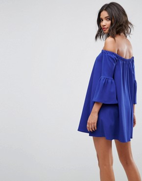 photo Off Shoulder Mini Dress with Bell Sleeve by ASOS, color Cobalt - Image 2